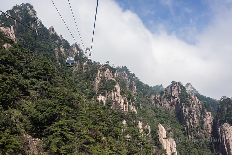 Near the top of the Yungu cable car up to the Huangshan Mountains, China