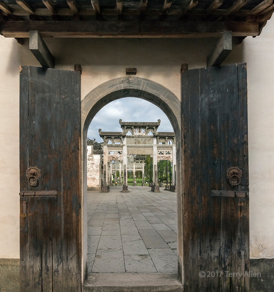Looking from Qing Yi Tang towards Bao CanXiao Archway for Filial Piety, Tangue, China