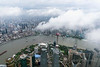 View from the Shanghai tower observation deck across the Haungpu River to Shanghai, Pudong, China