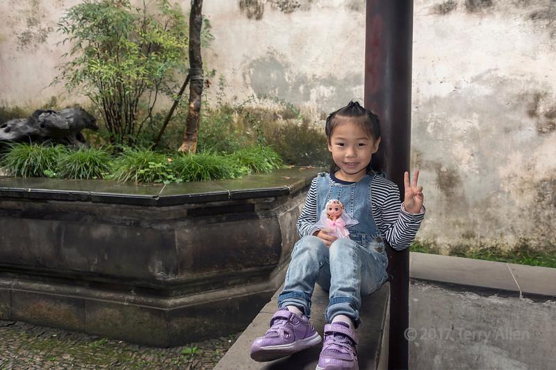 Fashionable Chinese miss, Liu Yuan Classical Garden, Souzhou, China
