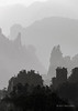 Sandstone mountain layers and pillars in the polluted mornng air, Zhangiajie NP, Hunnan, China