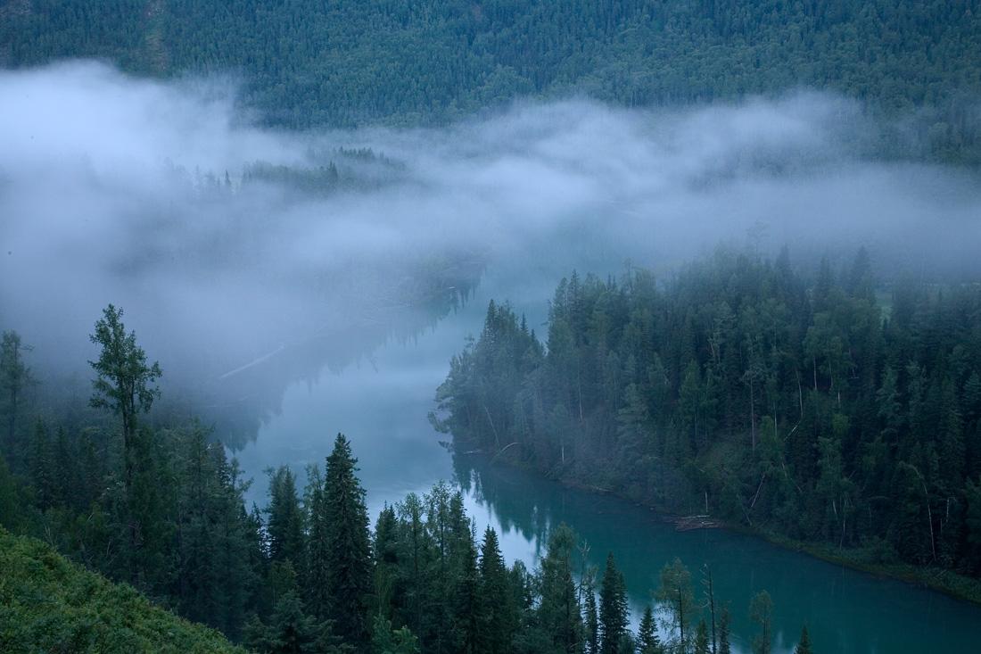 Morning at Moon Bay Kanas Nature Reserve XinJiang China