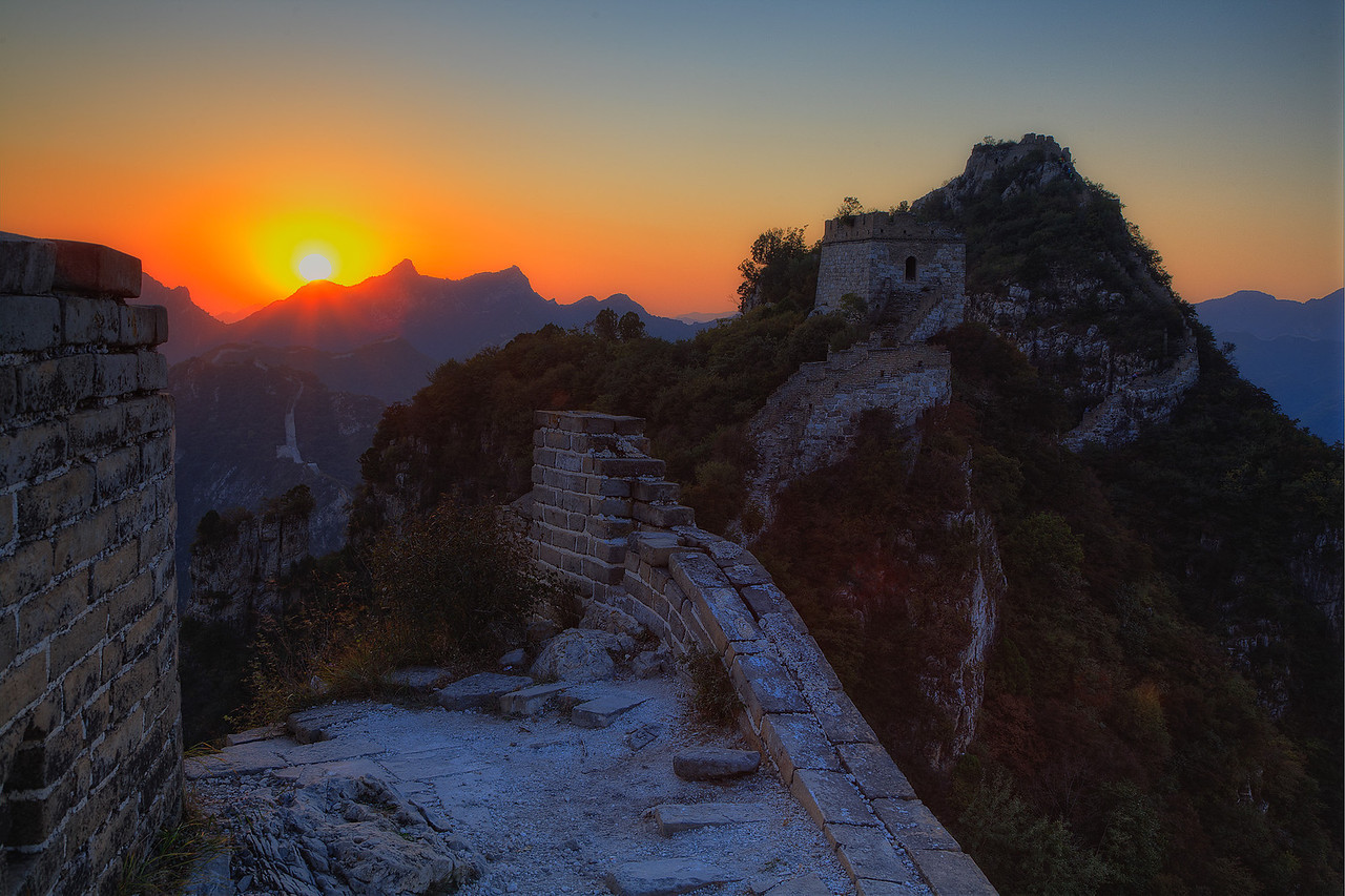 Sunset over Jiankou Great Wall