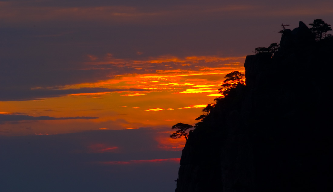 Autumn Sunset at HuangShan (Yellow Mountain), China