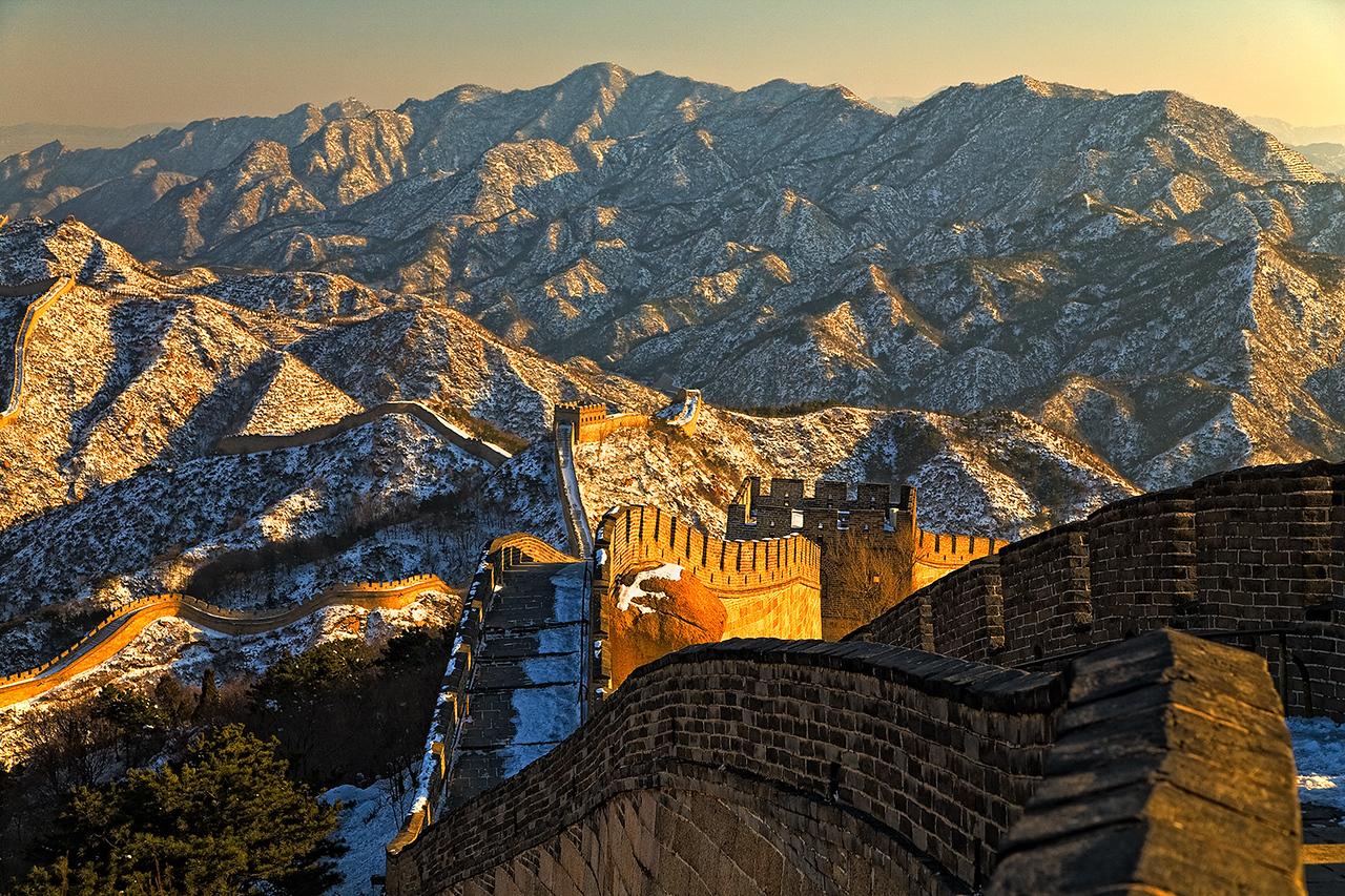 Sunset over Badaling with snow
