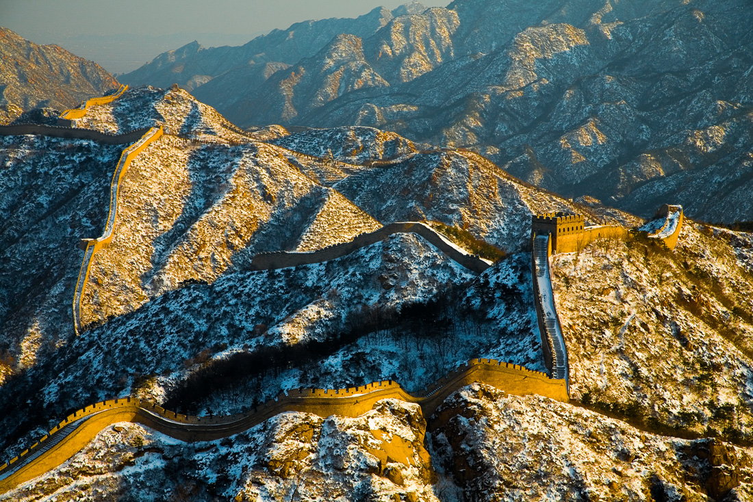 The Badaling Great Wall after snowing.