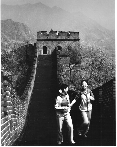 The Great Wall at Mu Tian Yu is mostly restored and is far less crowded than the sites nearest Beijing. Our class came by bus and had a fine time running up and down.