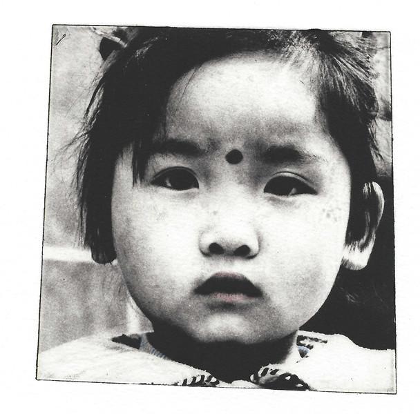Intaglio print of girl in Beihai area of Beijing.