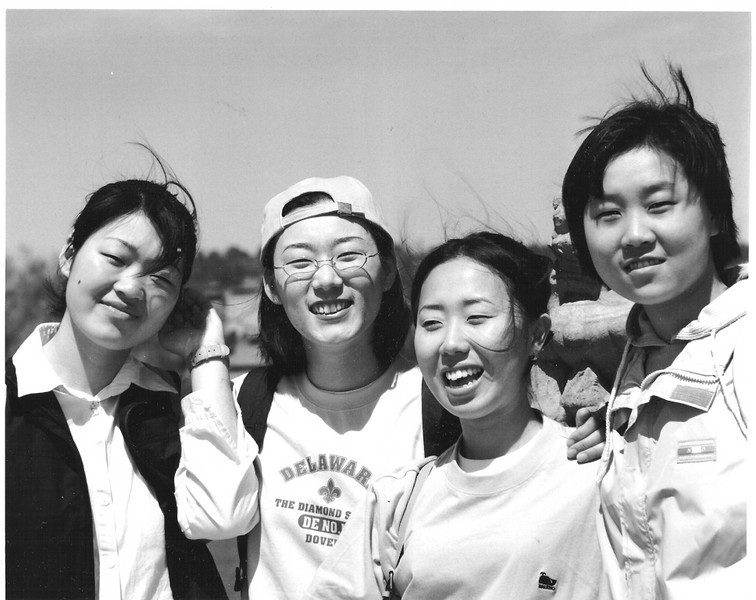 Two Chinese and two South Korean students from a teachers' college in Beijing. On a later trip I took them photos and they emailed me their versions.