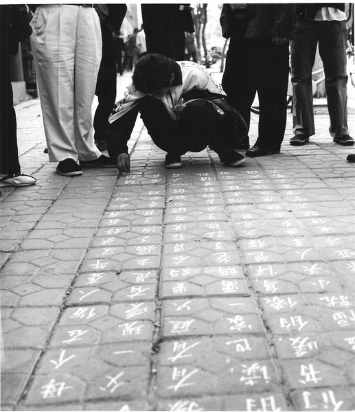 A boy writes on the sidewalk in Cheng De, gathering a crowd. It didn't seem like I should ask for an explanation, so I took my picture and left. Cheng De is Northeast from Beijing and is the site of a vast array of summer dwellings for the Emperor and delegations of vassal emissaries. In exchange for editing my hotel's English web description I could use their computer to access email (not on my government account, in case you're wondering.)