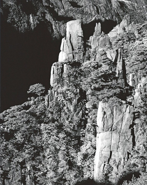 Huangshan, looking down into West Sea Canyon. Shot with Rollei infrared film.