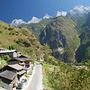 This is the narrow road leading into Tiger Leaping Gorge, where the Yangzi River flows between two 18,000 foot peaks.