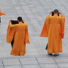 These monks were leaving a temple and folding up their outer black robes as they walked.