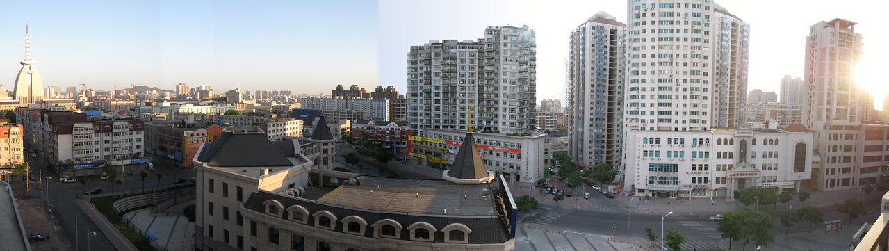 Panorama of the view from my apartment balcony in the morning.