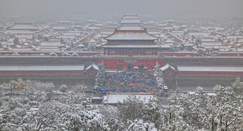 Forbidden City in snow