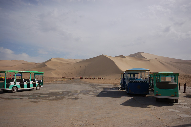 First pay 120 yuan to get on the sand dunes, then you can pay more to ride on one of these.