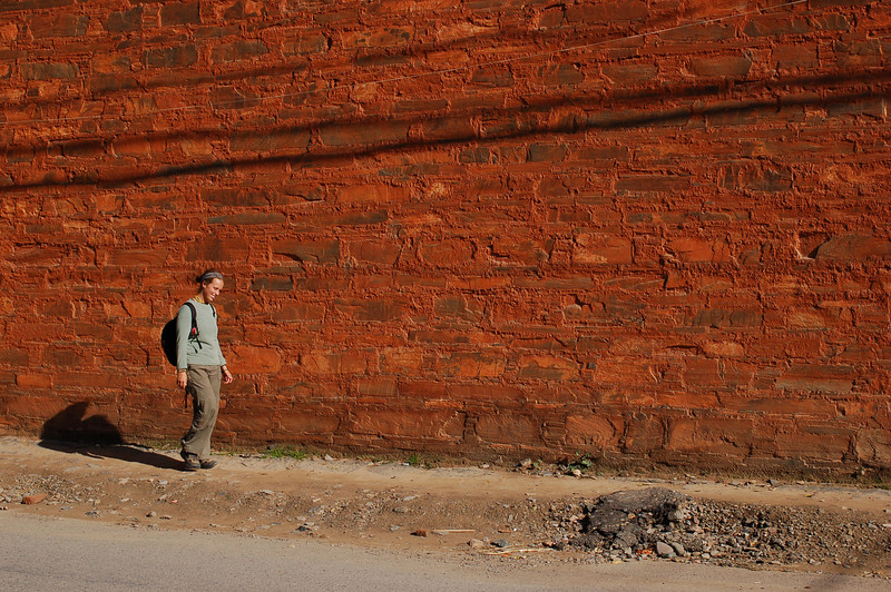Emilie walks through the streets of Labrang