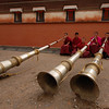 Tibetan long horn (dung chen) morning practise
