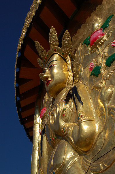 Statue on top of the Gongtang Chorten
