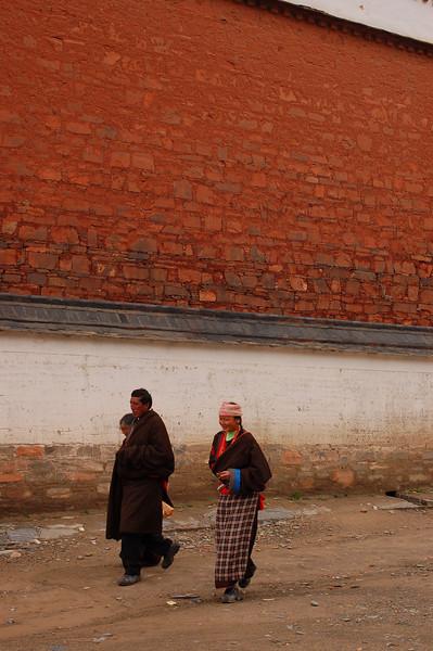 Pilgrims inside the Labrang Monastery