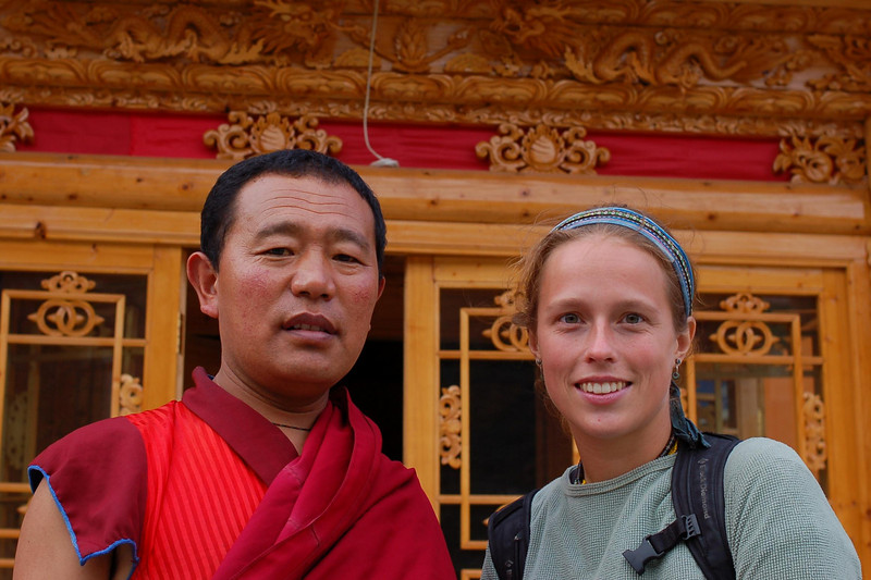 Emilie and one of the hostel's monks