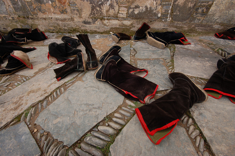 The signature Labrang monk's boots
