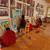 Monks at the Thangka Painting school
