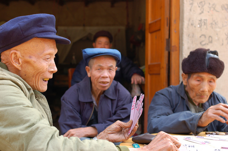 A card game in a village close to Xingping