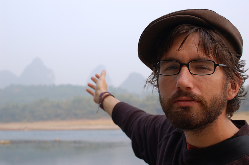 Yann points out the karst scenery