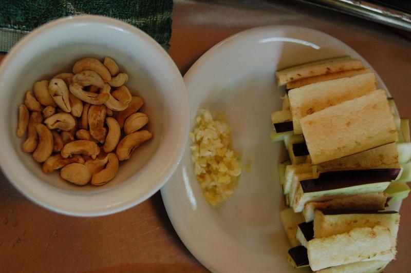Some ingredients: Cashews, garlic, eggplant