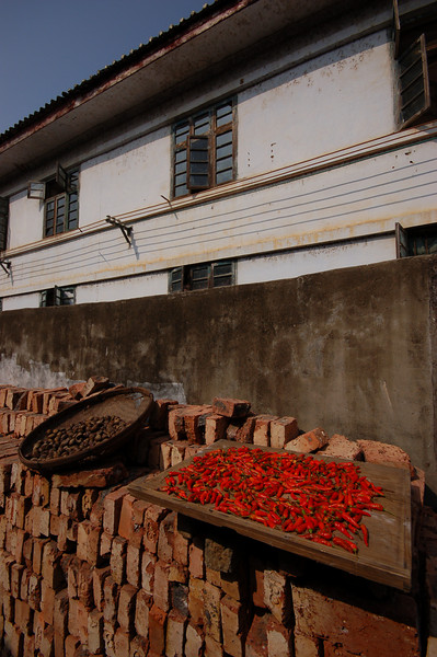 Waterchestnuts and peppers drying in Xingping