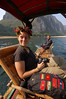 Emilie sports her flower crown for the cruise down the Li River