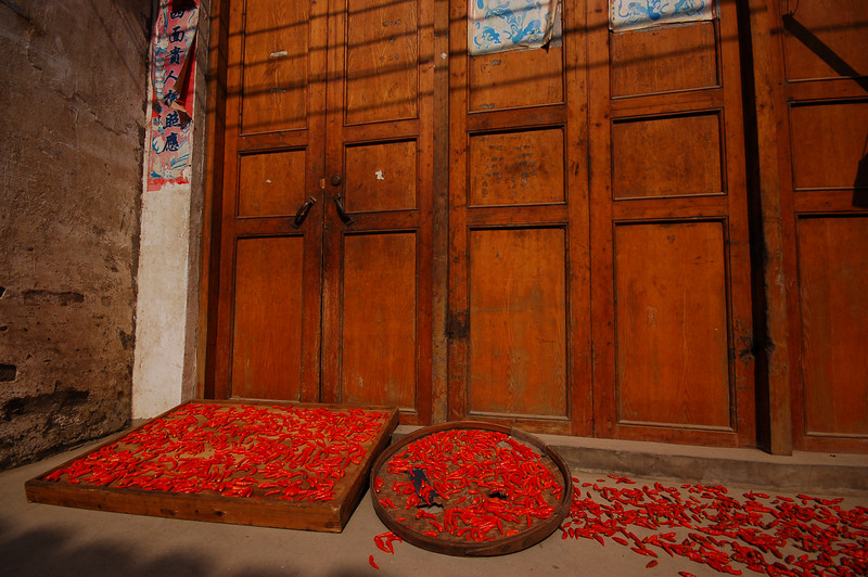 Drying peppers in Xingping village