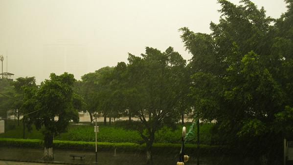 Torrential downpour, Guangzhou, China