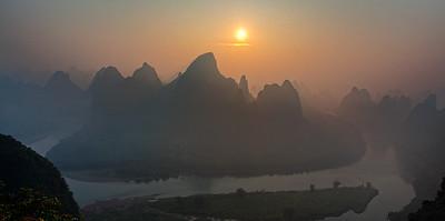 Sunrise from Xiang Gong Shan (相公山), Yangshuo, Guilin, China.