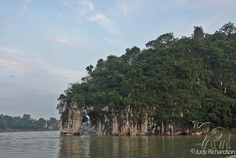 Elephant Trunk Hill is a limestone karst that looks like an elephant dipping it's trunk into the Li River