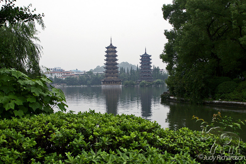Twin Pagodas, the Sun and Moon, in Shan Lake