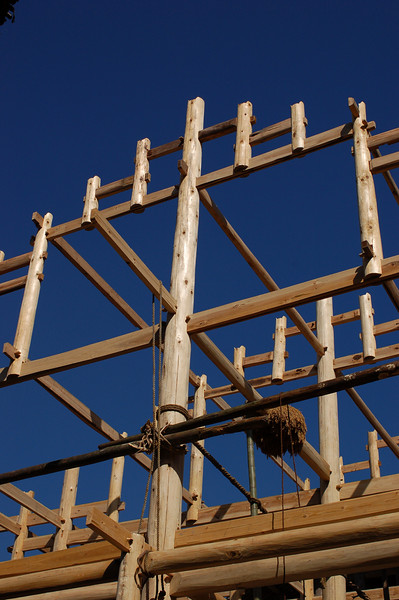 A lot of building is happening in the village.  The structure built are built without nail.