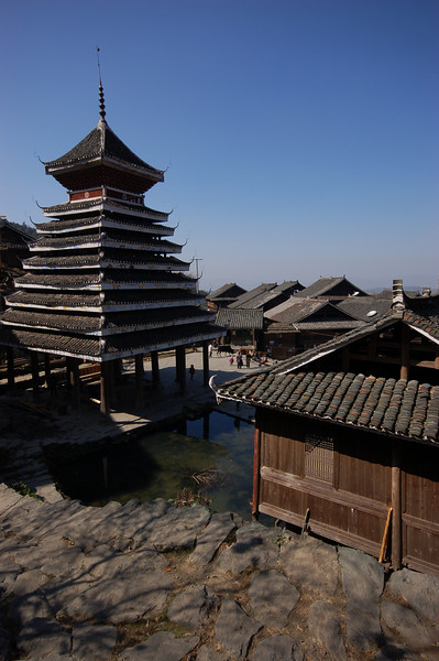 The drum tower and a view of the village.
