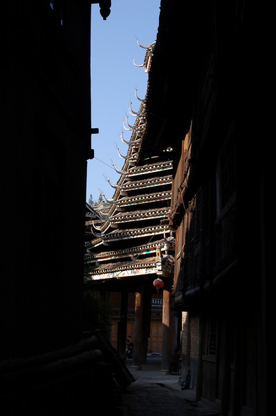 A drum tower from a Zhaoxing alley