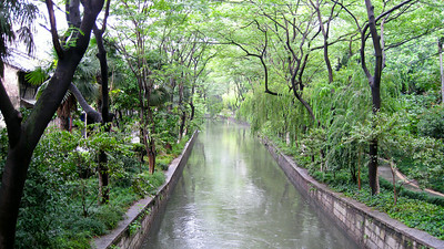 Canal off a sidestreet in Hangzhou, China