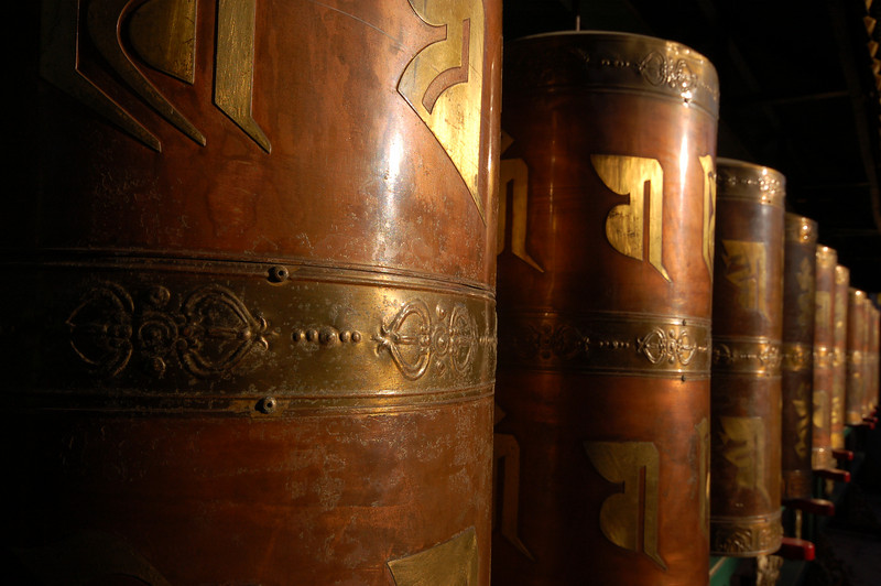 Pule Temple: Prayer wheels