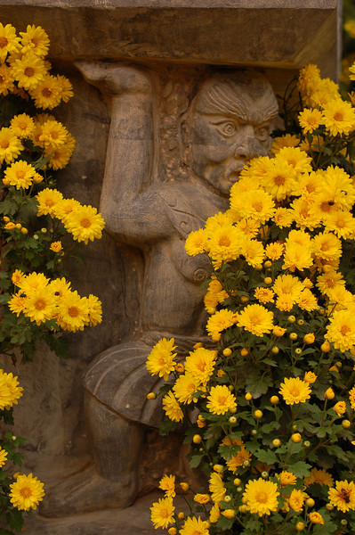 Carving and flowers.