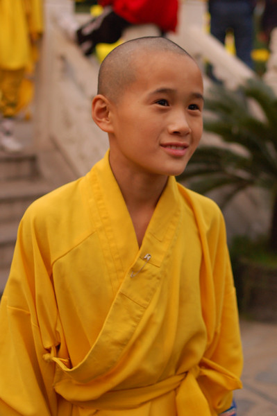 The shy Kung Fu monk finally poses for a picture.