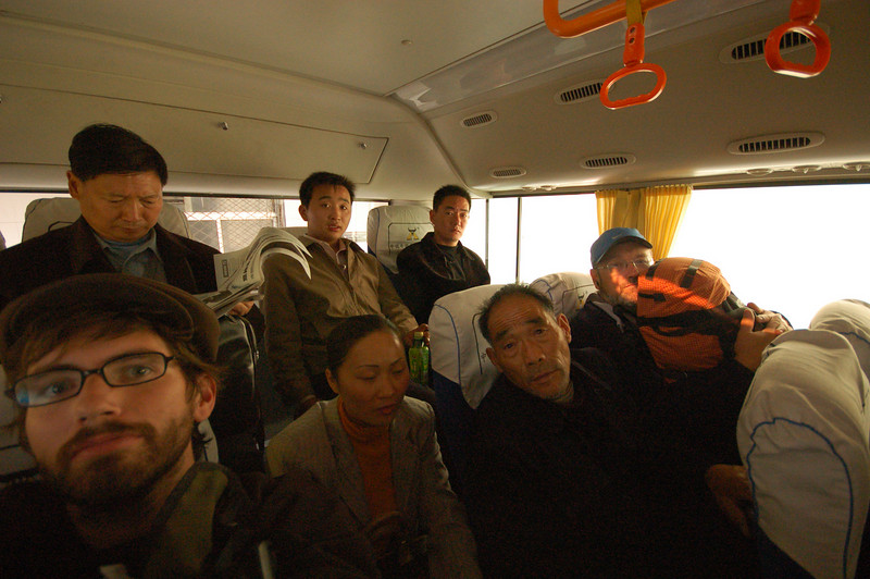The crazy packed bus from Zhengzhou to Kaifeng.