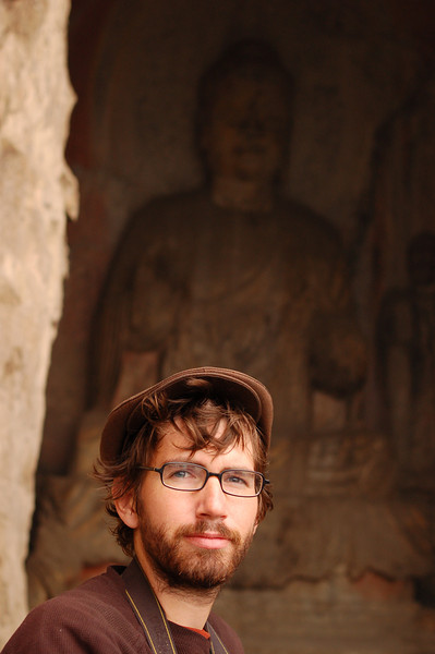 Yann outside a Longmen cave