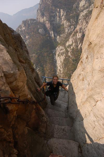 Emilie climbing the Song Mountain walkway