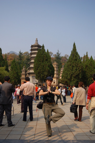 Emilie outside the Pagoda Forest, showing off her amazing balance