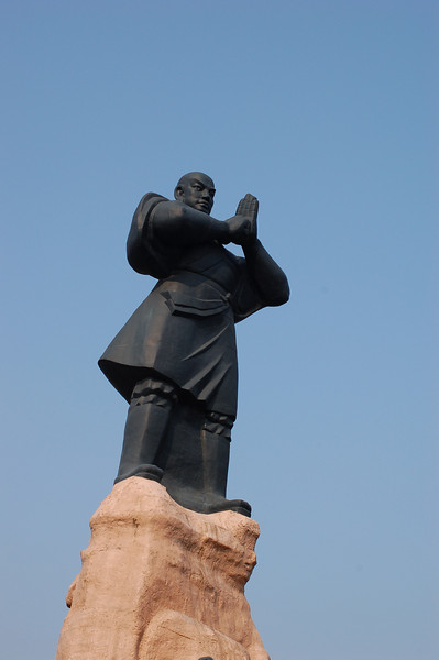 The statue greeting the tourist buses outside Shaolin Temple Complex