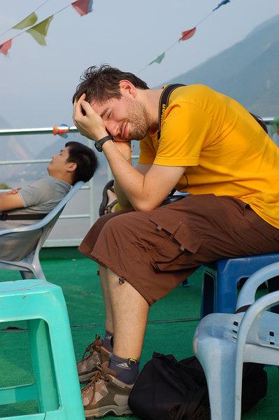 Yann tired on the upper deck